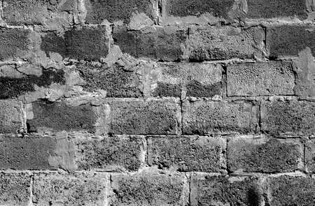 hollow wall: Black and white brickwork detailed texture background - stock photo