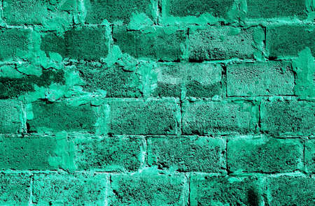 hollow wall: Turquoise brickwork detailed texture background - stock photo Stock Photo