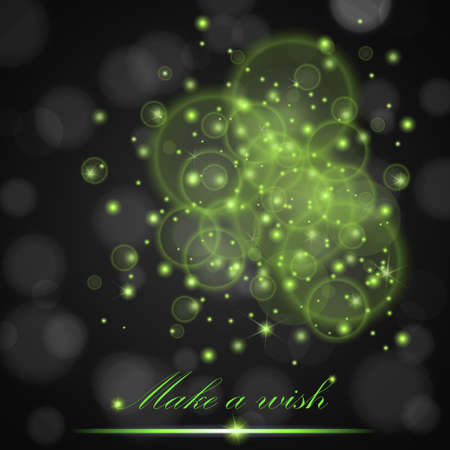 ambient: Vector green lights concept abstract on black ambient blurred background. Luxury design. Vector illustration