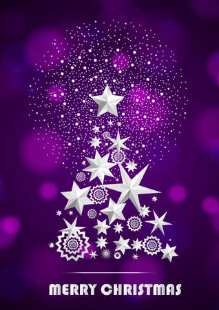 Christmas and New Year abstract with Christmas Tree made of stars and snowflakes with firework on dark violet ambient background. Vector illustration