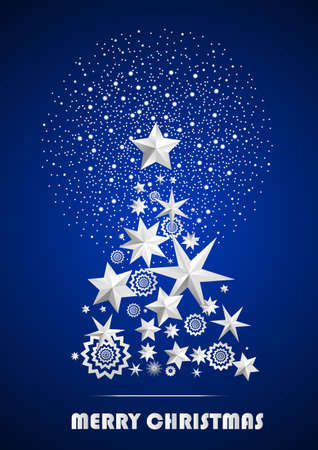 ambient: Christmas and New Year abstract with Christmas Tree made of stars and snowflakes with firework on dark blue ambient background. Vector illustration Illustration