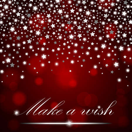 Silver shining falling stars on red ambient blurred background. Luxury design. Vector illustration