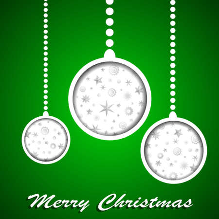 White Christmas toys with stars and snowflakes cuted in paper on green background. Vector illustration