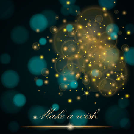 ambient: Vector golden lights concept abstract on turquoise ambient blurred background. Luxury design. Vector illustration