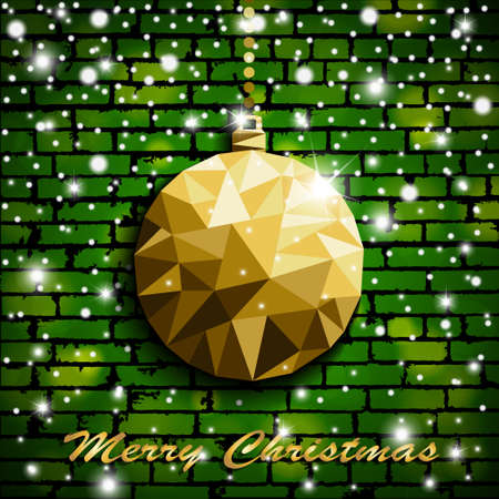 Origami style gold Christmas toy with shadow on illuminated green brick wall background with snow. Vector illustration
