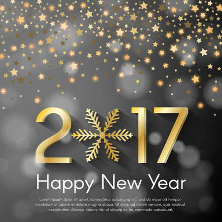starfall: Golden New Year 2017 concept on grey blurry starfall background. Vector greeting card illustration with golden numbers and snowflake