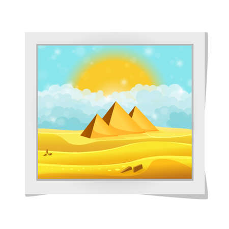 egyptian pyramids: Cartoon photo frame with Egyptian pyramids in the desert with clear cyan cloudy sky. Vector illustration