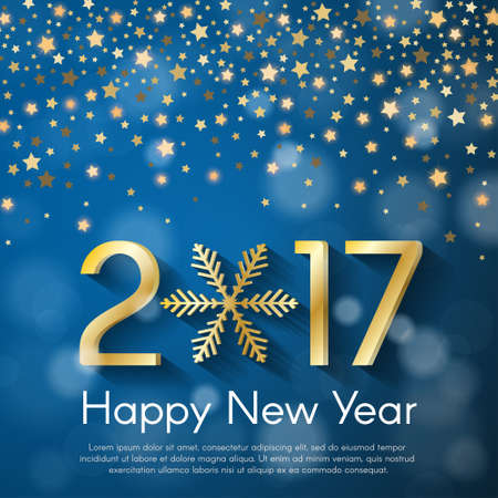 starfall: Golden New Year 2017 concept on blue blurry starfall background. Vector greeting card illustration with golden numbers and snowflake