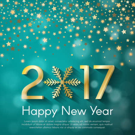 starfall: Golden New Year 2017 concept on turquoise blurry starfall background. Vector greeting card illustration with golden numbers and snowflake