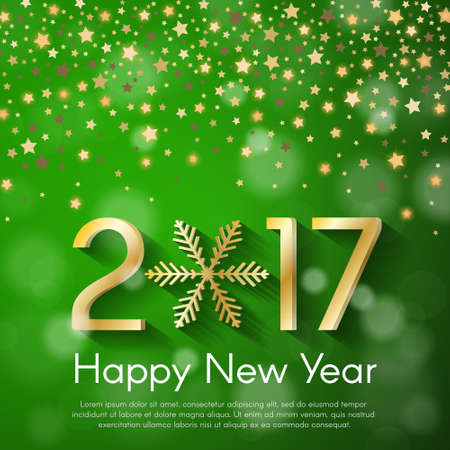starfall: Golden New Year 2017 concept on green blurry starfall background. Vector greeting card illustration with golden numbers and snowflake
