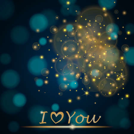 ambient: Vector abstract shining falling stars on turquoise ambient blurred background I love You. Luxury design. Vector illustration