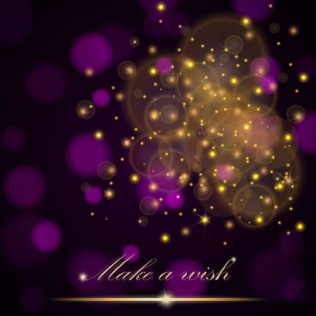 ambient: Vector golden lights concept abstract on dark purple ambient blurred background. Luxury design. Vector illustration