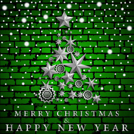 Christmas and New Year abstract with Christmas Tree made of stars and snowflakes on green realistic brick wall background. Vector illustration Illustration