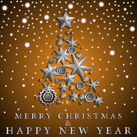 Christmas and New Year abstract with Christmas Tree made of stars and snowflakes on orange ambient gradient background. Vector illustration