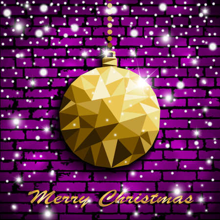 Origami style gold Christmas toy with shadow on illuminated violet brick wall background with snow. Vector illustration