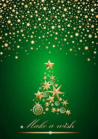 ambient: New Year and Christmas card design: gold Christmas Tree made of stars and snowflakes with abstract shining falling stars on green ambient background. Vector illustration