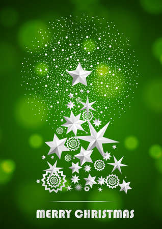Christmas and New Year abstract with Christmas Tree made of stars and snowflakes with firework on dark green ambient background. Vector illustration Illustration