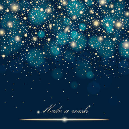 Vector gold glitter particles background effect for luxury greeting rich card. Sparkling texture. Star dust sparks in explosion on blue background. Vector illustration Ilustração