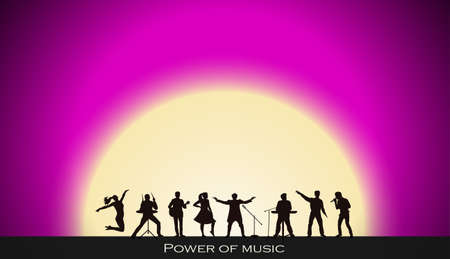 Band show on pink sunset background. Festival concept. Set of silhouettes of musicians, singers and dancers. Vector illustration