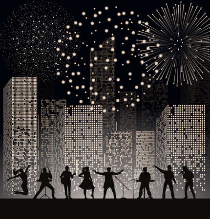 grooves: Band show on night city background with fireshow. Festival concept. Set of silhouettes of musicians, singers and dancers. Vector illustration