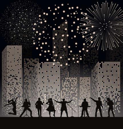 Spectacle de groupe sur fond de ville de nuit avec fireshow. Concept de Festival. Ensemble de silhouettes de musiciens, chanteurs et danseurs. Illustration vectorielle