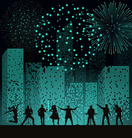 Spectacle de bande sur fond de ville de nuit avec feu d'artifice à la turquoise. Concept du festival. Ensemble de silhouettes de musiciens, chanteurs et danseurs. Illustration vectorielle