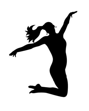 Silhouettes dancing jumping girl. Vector illustration