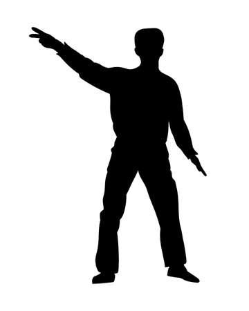 the showman: Silhouettes dancing showman. Vector illustration