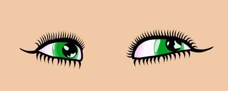 green eyes: Female cartoon style detailed green eyes. Vector illustration