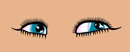 Female cartoon style detailed blue eyes. Vector illustration Illustration