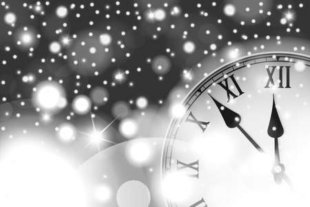 chiming: New Year and Christmas concept with vintage clock in black style. Vector illustration Illustration