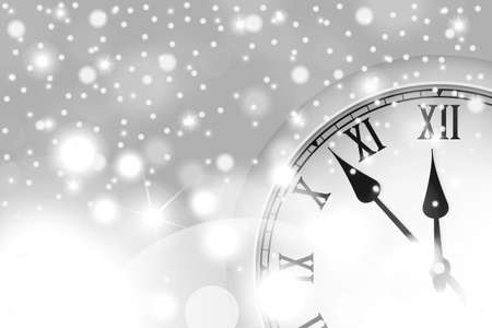 New Year and Christmas concept with vintage clock in white style. Vector illustration Ilustração
