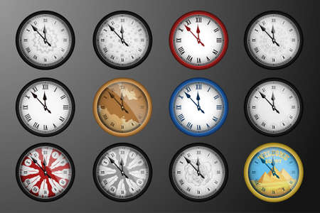 chiming: Pack of 12 realistic vintage clocks isolated on dark background. Vector illustration