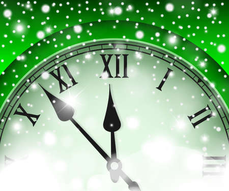 chiming: New Year and Christmas concept with vintage clock green style. Vector illustration
