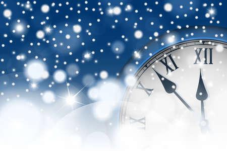 Neujahr und Weihnachten Konzept mit Vintage-Uhr in blau-Stil. Vektor-Illustration Vektorgrafik