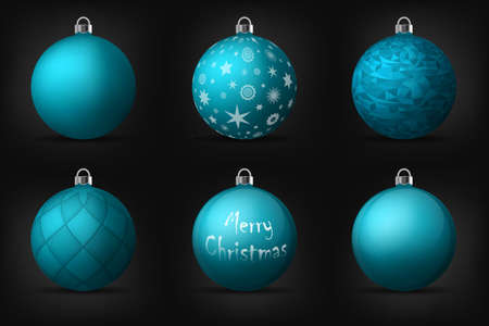 turquoise christmas balls with silver holders set of isolated realistic decorations on black background