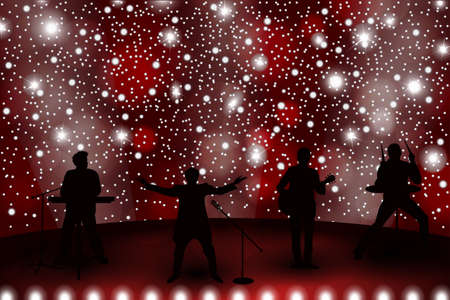 Band show concept with red light and stars. Set of silhouettes of musicians, singers and dancers. Vector illustration Illustration
