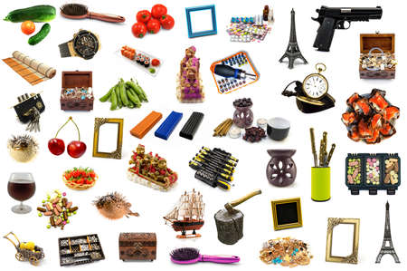 Mega pack of detailed objects isolated on white. Stock vector photo