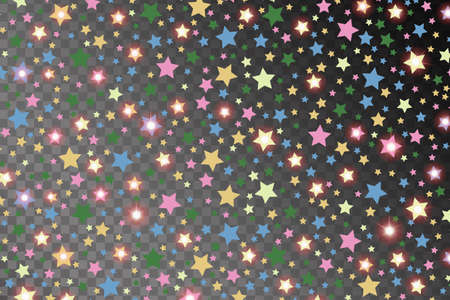 starfall: Abstract multicolored starfall effect pattern isolated on transparent background. Vector illustration