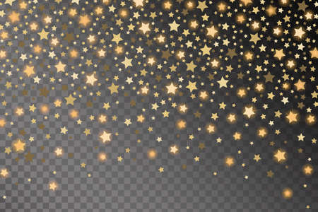 starfall: Abstract golden starfall effect pattern isolated on transparent background. Vector illustration