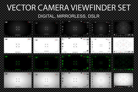 auto focus: Modern camera focusing screen with settings 20 in 1 pack - digital, mirorless, DSLR. White, black and green viewfinders camera recording. Vector illustration