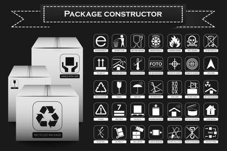 this side up: Package constructor. Packaging symbols. Icon set including waste recycling, fragile, flammable, this side up, handle with care, keep dry and others. Vector illustration