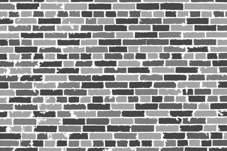 drown: Detailed hand drown texture of black and white old brick wall. Vector illustration