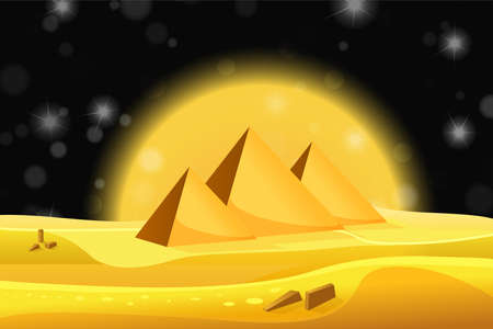 egyptian pyramids: Cartoon Egyptian pyramids in the desert with black night sky. Vector illustration
