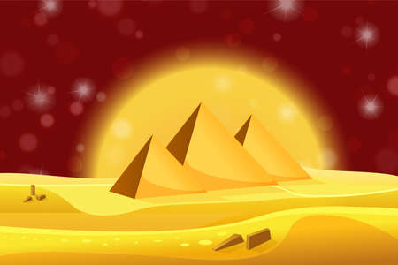 egyptian pyramids: Cartoon Egyptian pyramids in the desert with red night sky. Vector illustration