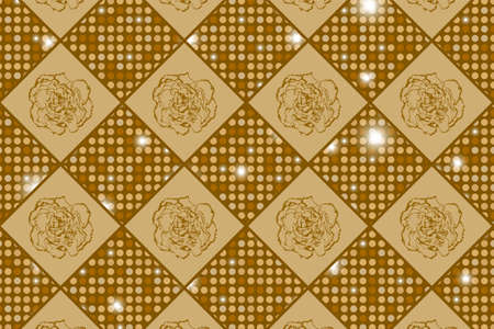 clove: Golden seamless chess styled vintage texture with clove flowers and shining rounds. Vector illustration