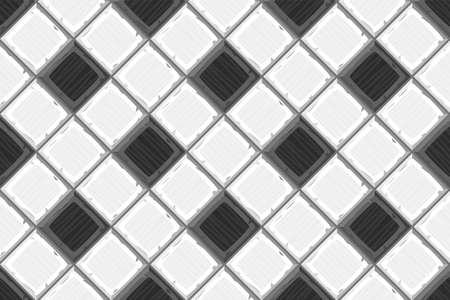 ahogarse: Cartoon hand drown black and white old diagonal seamless tiles texture. Vector illustration