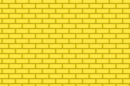 drown: Cartoon hand drown golden realistic seamless brick wall texture. Vector illustration