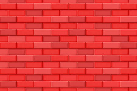 drown: Cartoon hand drown red realistic seamless brick wall texture. Vector illustration
