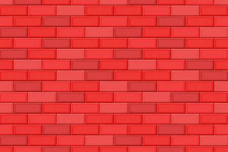 ahogarse: Cartoon hand drown red realistic seamless brick wall texture. Vector illustration